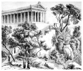 Victorian engraving of the Sanctuary of Poseidon, Athens