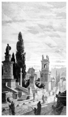 Victorian engraving of a street of tombs, Athens