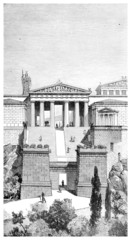 Victorian engraving of the Propyla at Athens