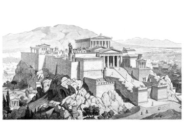 Wall Mural - Victorian engraving of the Acropolis at Athens