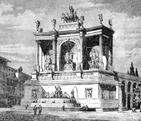 Victorian engraving of the Fountain of Alexander Severus, Rome