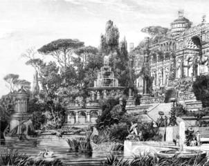 Fototapete - Victorian engraving of an opulent Roman villa
