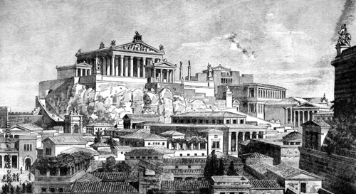 Wall mural Victorian engraving of the ancient city of Rome