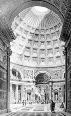 Wall Mural - Victorian engraving of the interior of the Pantheon, Rome