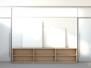 Blank posters on a shelf