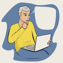 Illustration of а man with laptop