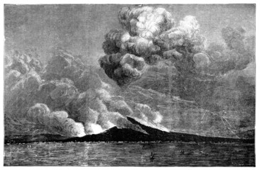 19th century engraving of an eruption at Mt. Vesuvius, Naples
