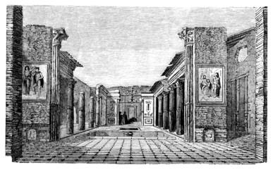 19th century engraving of a villa, Pompeii, Italy
