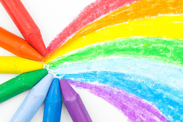 Child's rainbow crayon drawing