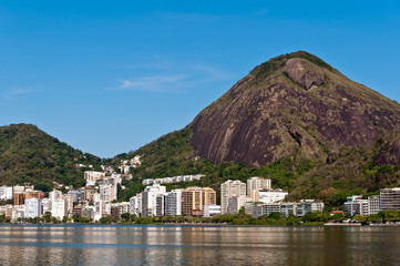 View or Mountains and Buildings of Rio de Janeiro around Lagoon