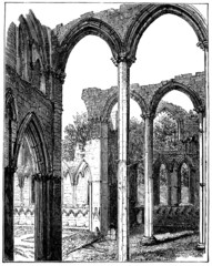 19th century engraving of Fountains Abbey, North Yorkshire, UK
