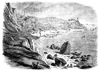19th century engraving of Ventnor, Isle of Wight, UK