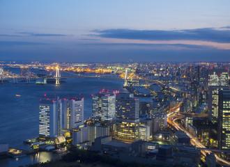 [東京都市風景]汐留から望む晴海 レインボーブリッジ 芝浦方面 夜景