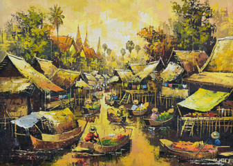 Original oil painting on canvas - waterside life