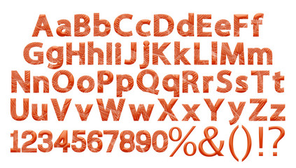 3D font character alphabet number set full in red