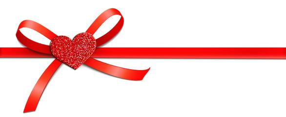 Rote Schleife mit Glitter-Herz - Horizontal
