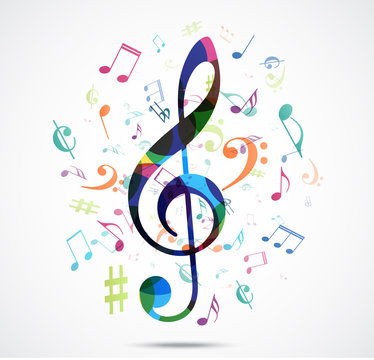 Abstract background Colorful music notes