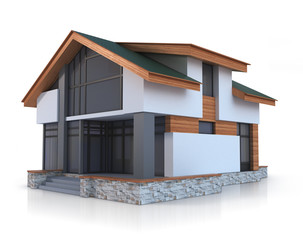 House on white background. Three-dimensional image.