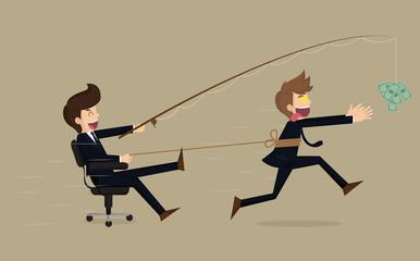 Stressed greedy businessman running after money, vector cartoon