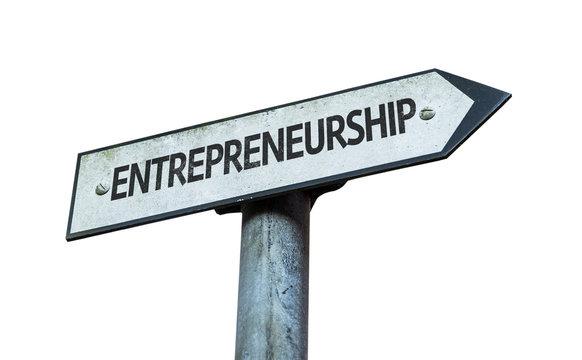 Entrepreneurship sign isolated on white background