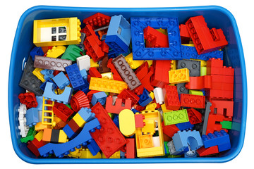box with many cubes and toys