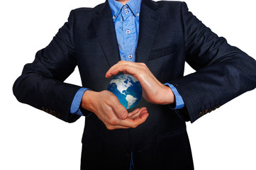 Business manager holding an Earth globe. Business man in  suit