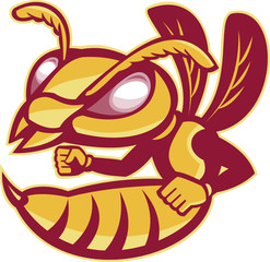 Angry Female Hornet Mascot Cartoon