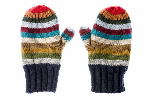 Varicolored striped mittens
