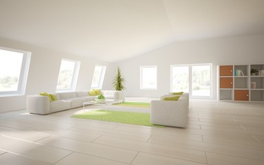 white 3d interior design with panoramic windows