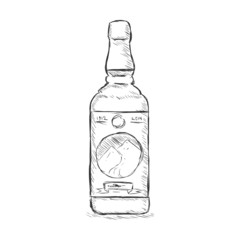 Vector Single Sketch Bottle