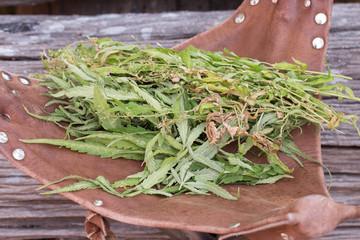 Cannabis on grunge wooden desk