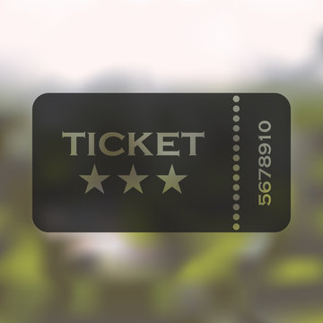 ticket icon on blurred background