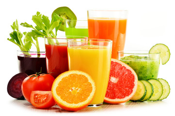 Printed roller blinds Juice Glasses with fresh organic vegetable and fruit juices on white