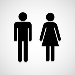 Man and Woman Toilet icon great for any use. Vector EPS10.