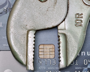 credit card with tool, credit repair or credit fix concept