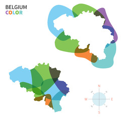 Abstract vector color map of Belgium