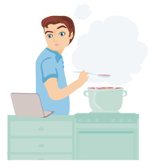 man looking in laptop during cooking soup at home kitchen