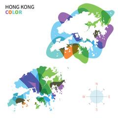 Abstract vector color map of Hong Kong