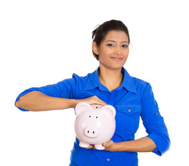happy, smiling business woman, employee holding piggy bank