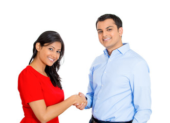 couple man woman shaking hands isolated white background