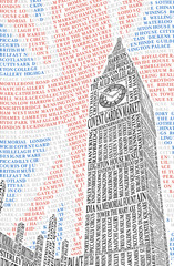 Poster with a picture of Big Ben. Vector