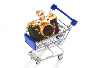 Shopping trolley with retro camera