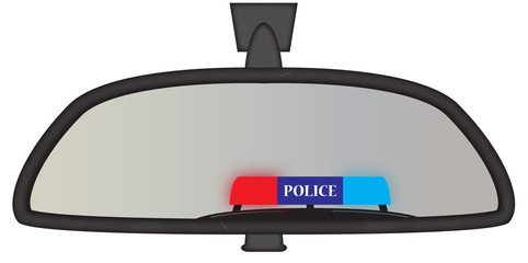 Police Sirens In Rear View Mirror
