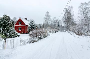 Swedish village in winter