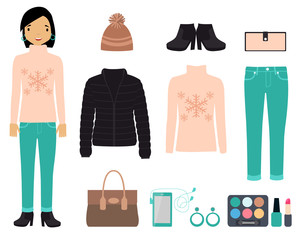 Set of winter clothes