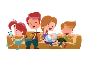 Family sitting couch sofa vector illustration cartoon character