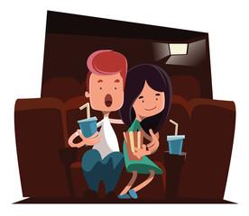 Cute couple at cinema theatre illustration cartoon character