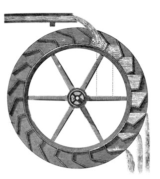 19th century engraving of a water wheel