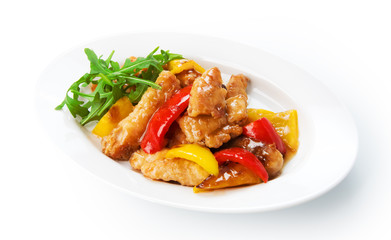 Restaurant food isolated - white fish in batter