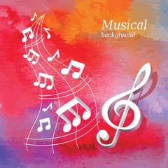 Watercolor banner with 3d music notes.